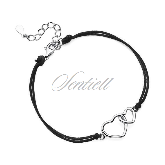 Silver (925) bracelet with black cord - hearts