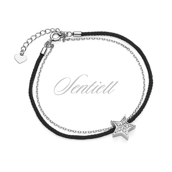 Silver (925) bracelet with black cord - star with zirconia