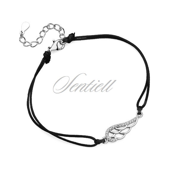 Silver (925) bracelet with black cord - wing with zirconia