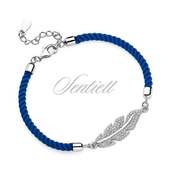 Silver (925) bracelet with blue cord - feather with zirconia