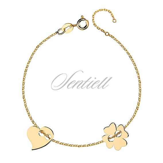Silver (925) bracelet with clover and heart, gold-plated