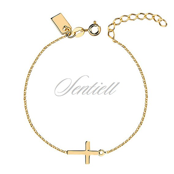 Silver (925) bracelet with cross, gold-plated