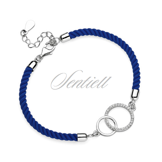 Silver (925) bracelet with dark blue cord - circles with zirconia