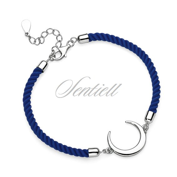 Silver (925) bracelet with dark blue cord - crescent