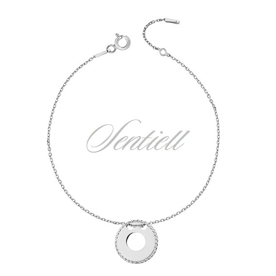 Silver (925) bracelet with diamond-cut, round pendant
