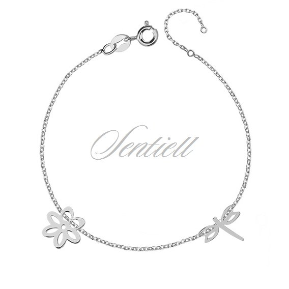 Silver (925) bracelet with dragonfly and flower