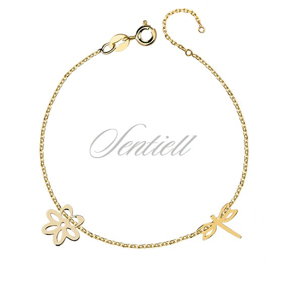 Silver (925) bracelet with dragonfly and flower, gold-plated