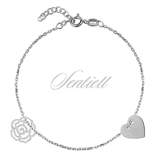 Silver (925) bracelet with heart and rose