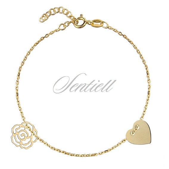 Silver (925) bracelet with heart and rose, gold-plated