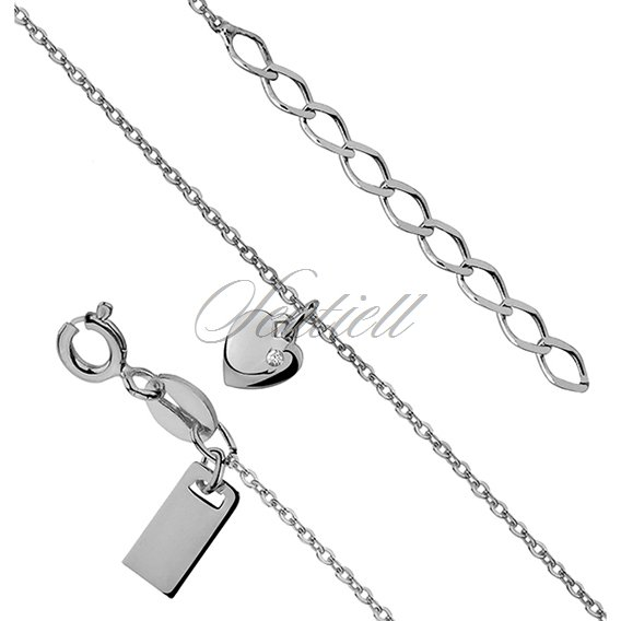 Silver (925) bracelet with heart, zirconia and the metal tag