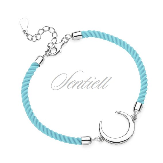 Silver (925) bracelet with light blue cord - crescent
