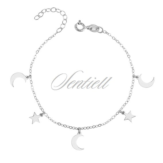 Silver (925) bracelet with moon and star pendants