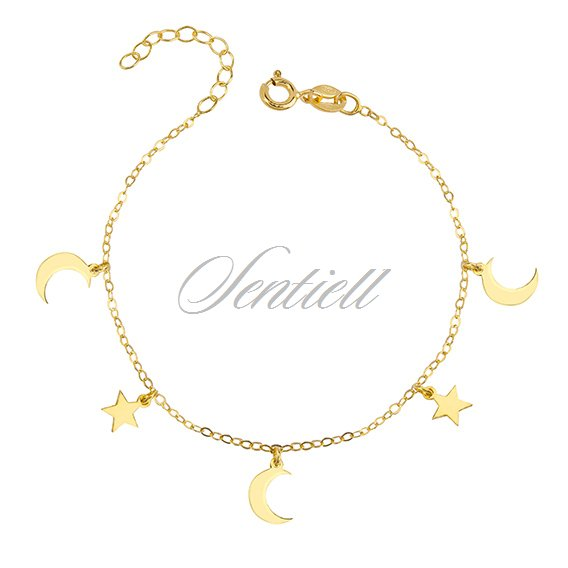 Silver (925) bracelet with moon and star pendants, gold-plated