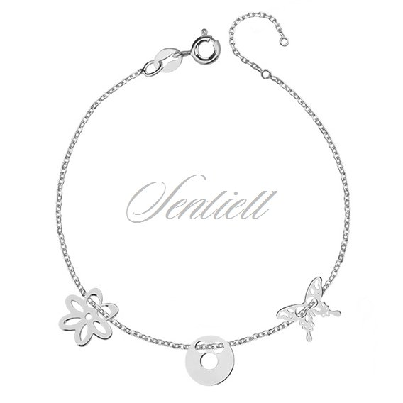 Silver (925) bracelet with open-work butterfly, circle and flower