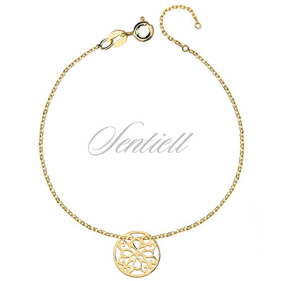 Silver (925) bracelet with open-work circle, gold-plated