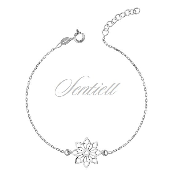 Silver (925) bracelet with open-work flower pendant