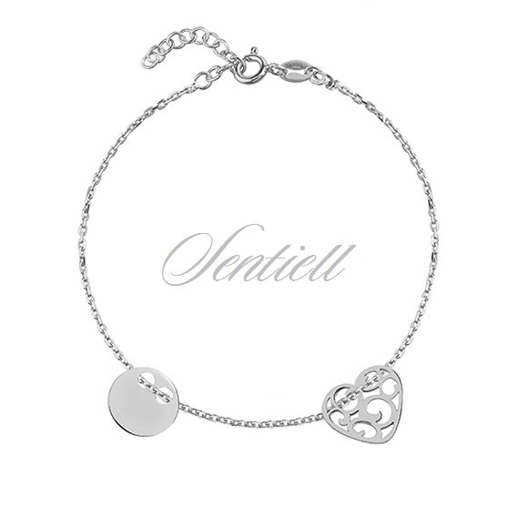 Silver (925) bracelet with open-work heart and circle