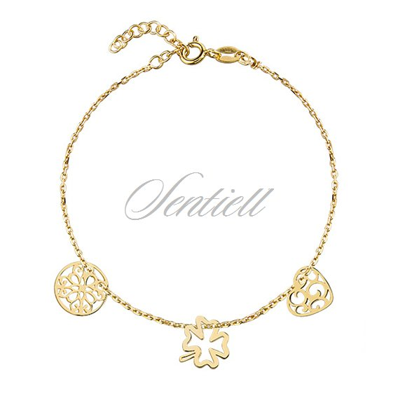 Silver (925) bracelet with open-work heart, circle and clover, gold-plated