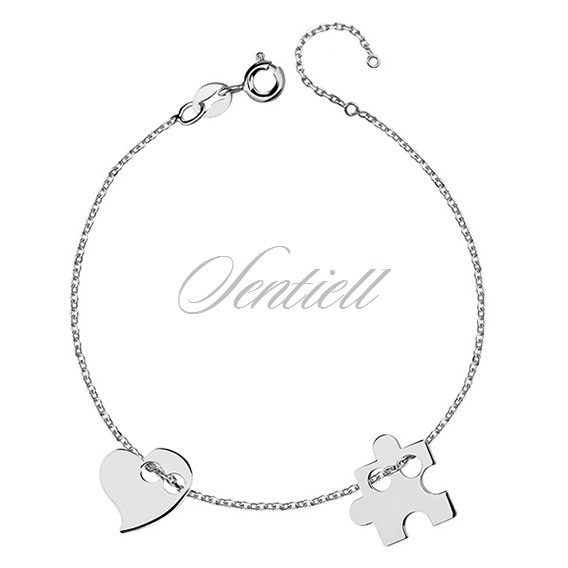 Silver (925) bracelet with puzzel and heart