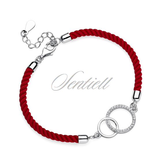 Silver (925) bracelet with red cord - circles with zirconia
