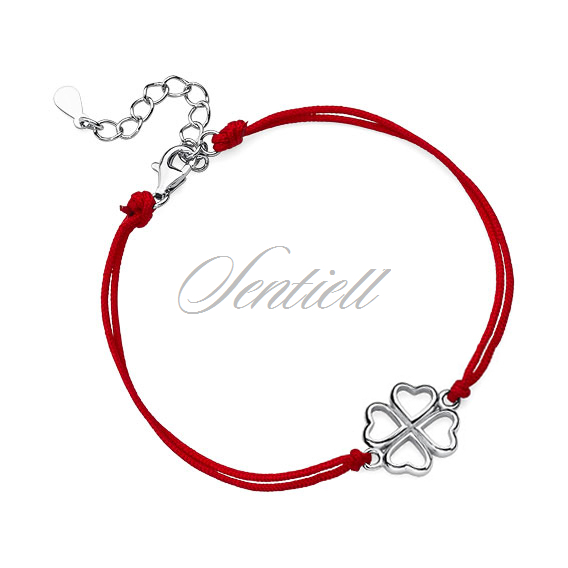 Silver (925) bracelet with red cord - clover