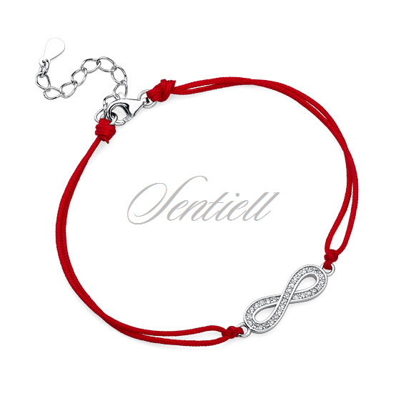 Silver (925) bracelet with red cord - infinity with zirconia