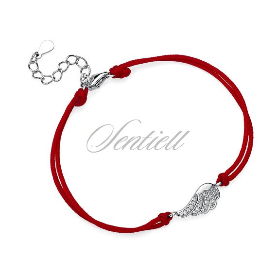Silver (925) bracelet with red cord - wing with zirconia