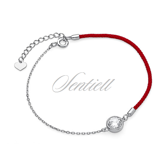 Silver (925) bracelet with red cord - zirconia
