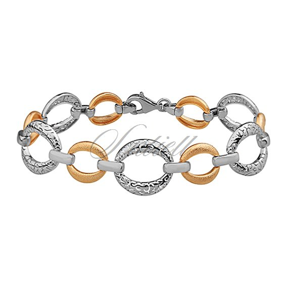 Silver (925) bracelet with satin, gold-plated elements