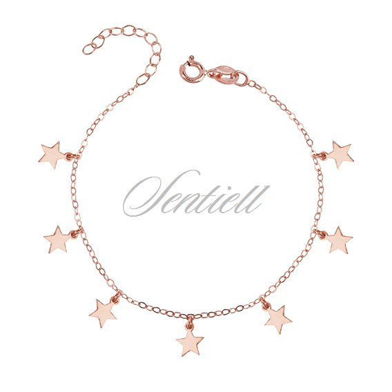 Silver (925) bracelet with star pendants, rose gold-plated