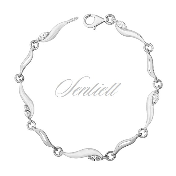 Silver (925) bracelet with white zirconia