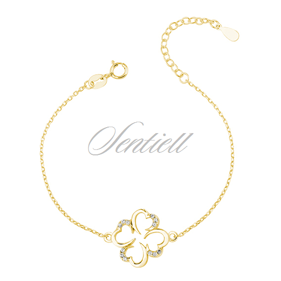 Silver (925) bracelet with zirconia - gold-plated clover