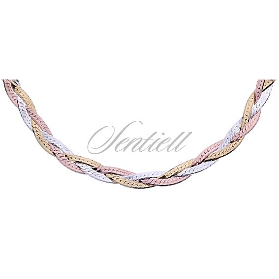 Silver (925) braided plait chain necklace Ø 040 weight from 8,6g - gold & rose gold