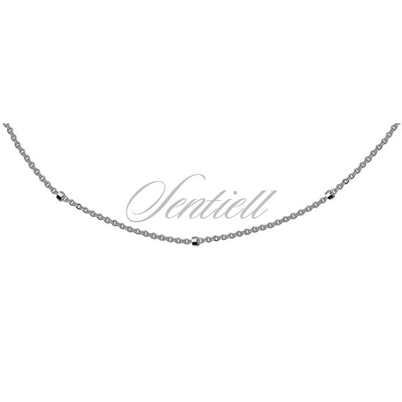 Silver (925) chain necklace Rolo 8L + cube rhodium-plated