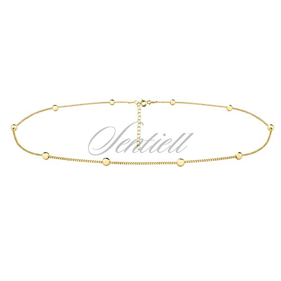 Silver (925) choker necklace with balls - gold-plated