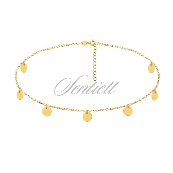 Silver (925) choker necklace with round pendants - gold-plated