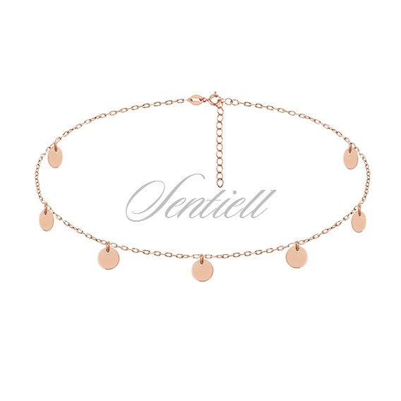 Silver (925) choker necklace with round pendants - rose gold