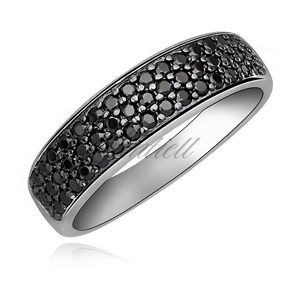 Silver (925) classic ring with black zirconia