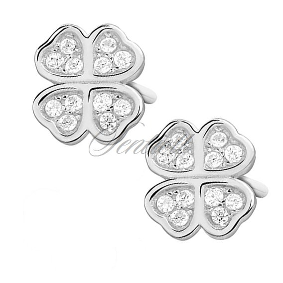 Silver (925) clover earrings with zirconia
