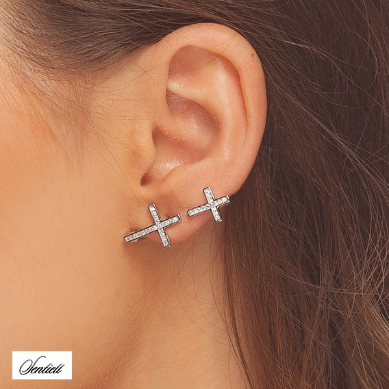 Silver (925) cuff earring with zirconia - crosses