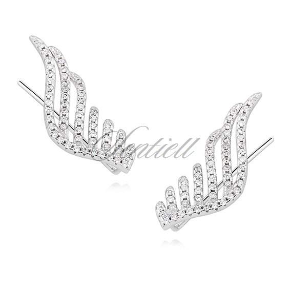 Silver (925) cuff earrings - wings with zirconia