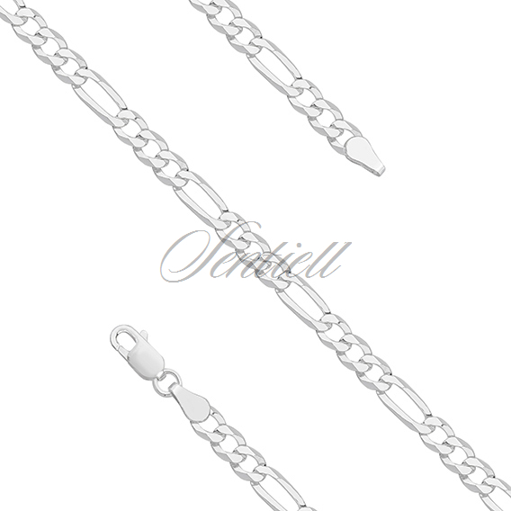 Silver (925) diamond-cut bracelet - figaro extra flat Ø 0100 weight from 4,4g