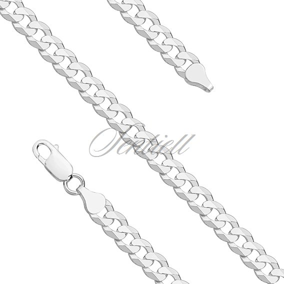 Silver (925) diamond-cut chain - curb extra flat Ø 0160 weight from 23,4g