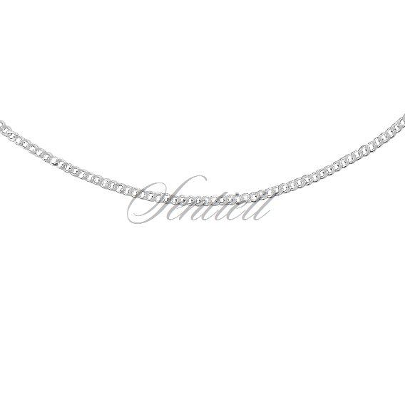 Silver (925) diamond-cut chain - curb extra flat Ø 050 rhodium-plated