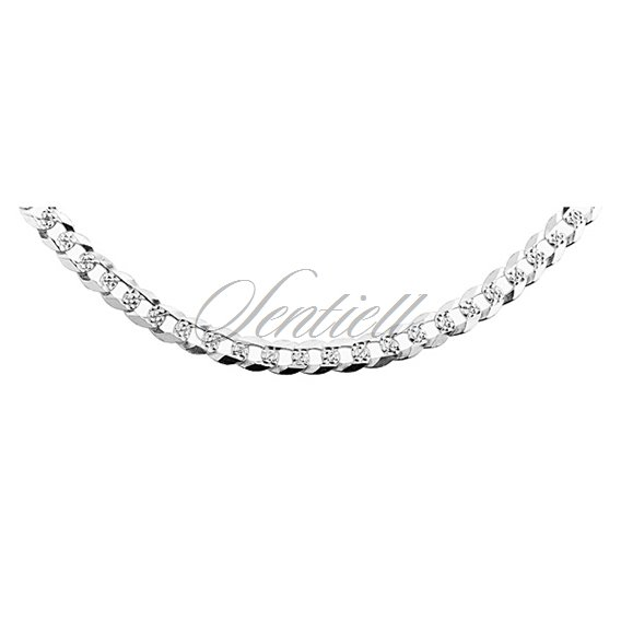 Silver (925) diamond-cut chain - curb extra flat pave Ø 0120 weight from 13,3g