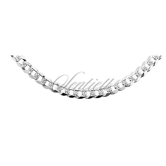 Silver (925) diamond-cut chain - curb extra flat pave Ø 0140