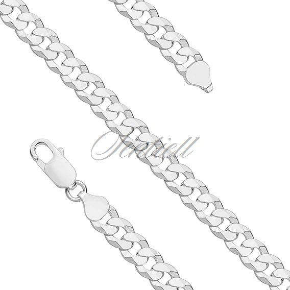 Silver (925) diamond-cut chain - curb extra flat rhodium-plated