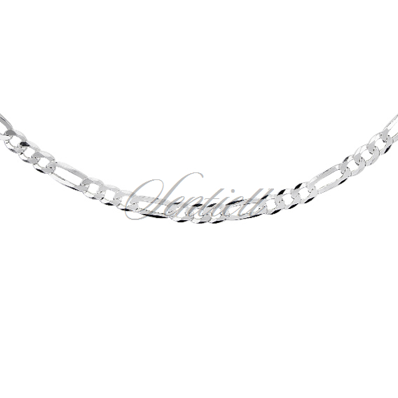 Silver (925) diamond-cut chain - figaro extra flat Ø 0100 rhodium-plated