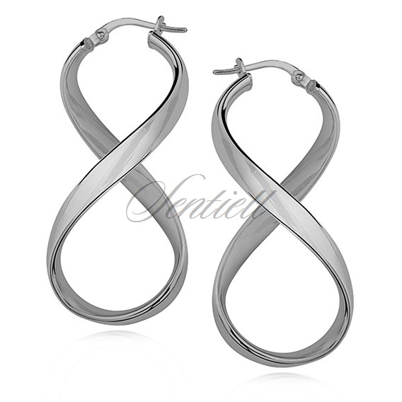 Silver (925) earrings Infinity - highly polished