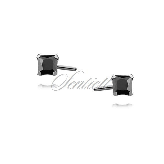 Silver (925) earrings black zirconia 3 x 3mm square